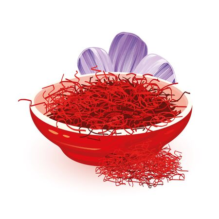 Dry red Saffron is in ceramic bowl near violet flower Crocus, source of this spice, using in cooking and as colouring agent in food. Cartoon vector illustration isolated on white background.