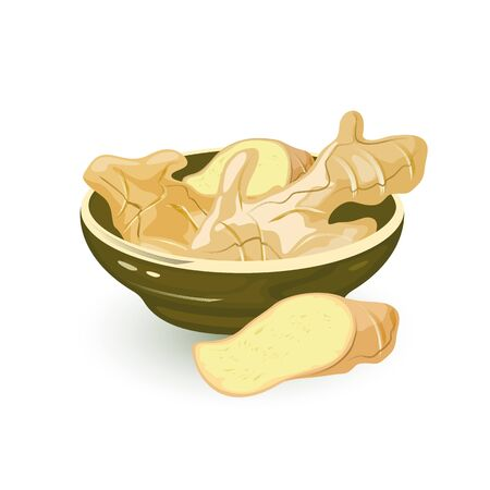 Wedges of fresh ginger rhizome are in ceramic bowl and near it, using as spice in cooking and for treatment in folk medicine. Vector cartoon illustration isolated on white for packing, cookbook.