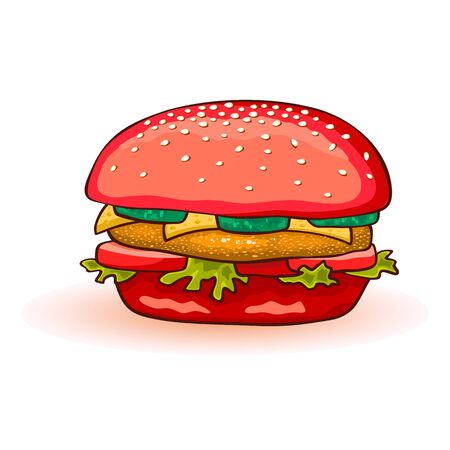 Red colored burger including beef patty, cheese, juicy red tomato, cucumber, lettuce, sauce, onions, mustard. All ingredient served in toasted bun. Fast food menu. Vector cartoon icon on white. Ilustracja
