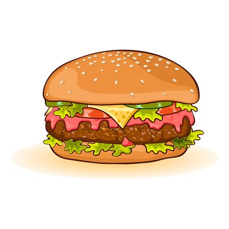 Calorific fattening fast food. Cheeseburger with slices of beef patty, cheese, ketchup, tomato, cucumber or pickles, lettuce, sauce. All served in toasted bun with sesame seeds. Vector cartoon icon.