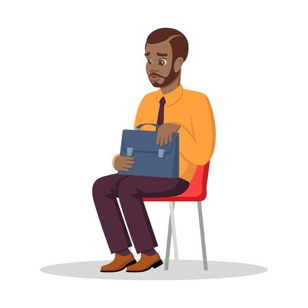 Bearded afro-american man sitting on chair with briefcase. Thoughtful african guy in formal costume waiting for meeting with physician, banking consultant to obtain credit or job interview. Vector.