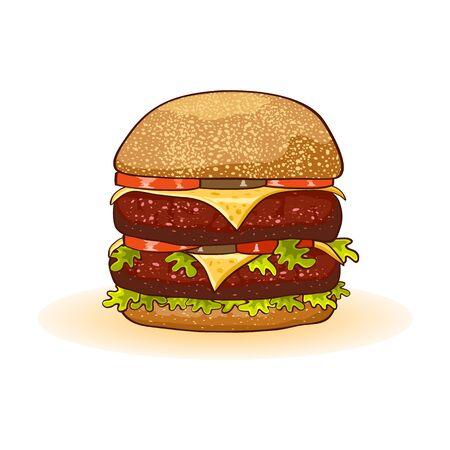 Apetyczny duży podwójny cheeseburger z kotletami wołowymi lub stekiem, serem, pomidorami, piklami, sałatą, sosem, majonezem, cebulą, musztardą zagnieżdżoną na świeżo upieczonej bułce, na wierzchu ozdobiony sezamem. Fast food.
