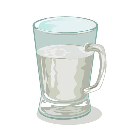Glass handle mug, cup of transparent sap, water, juice. Glassware with drink, beverage. Chemical, technical or medical liquid in kitchenware. Cartoon vector illustration isolated on white background.