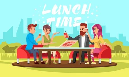Young people sitting at table with drinks and pizza in park. Vector white lettering Lunch time. Smiling men and women spending time outdoor, in alfresco cafe, in nature near summerhouse or cottage.