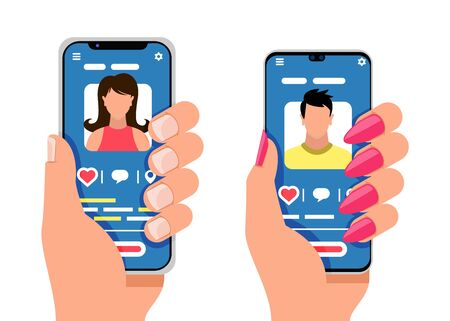 Two smartphones with male and female silhouettes. Social media, mobile messenger, applications for dating, meeting, communication, learning. Vector cartoon flat icons isolated on white background.