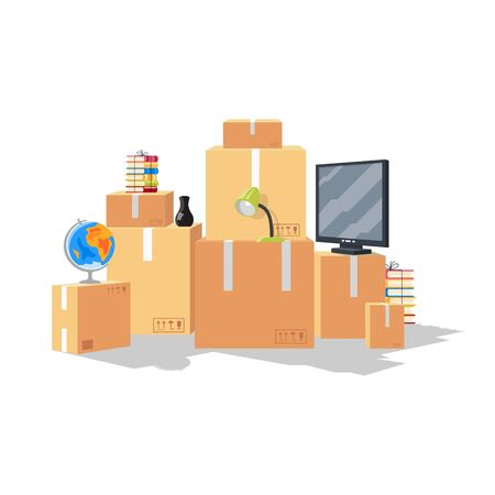 Moving by reason starting of education at university, college at other city, country. Relocation from parents home, beginning of adulthood. Home furniture, stuff in cardboard boxes. Vector cartoon.