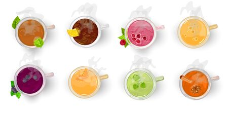 Different types of tea, assortment herbal, fruity, berry, yellow, oolong, green, black, Darjeeling, Chinese, masala chai. Vector cartoon set with freshly brewed drinks isolated on white Top view