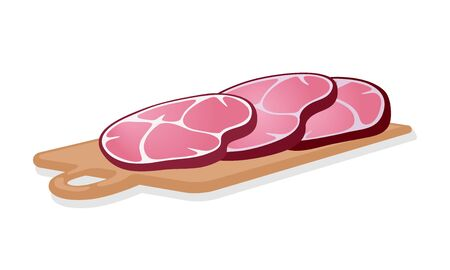 Slices of smoked red ham are on cutting wooden board. Cold cuts. Gammon, gigot, silverside cooked and cutted for meat platter or sandwiches. Cartoon vector illustration isolated on white background.