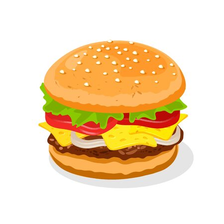 Appetizing big double cheeseburger with beef patties or steak, cheese, tomatoes, pickles, lettuce, sauce, mayo, onions, mustard nested on freshly toasted bun, decorated sesame seeds on top. Fast food.