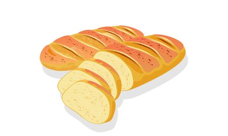 Wheaten French bread, long loaf, baguette with crackling crust. Cutted to slices, pieces for eaten, toasts, sandwiches, sarnies. Cartoon vector icon isolated on white for menu, advertising, recipe. Vettoriali