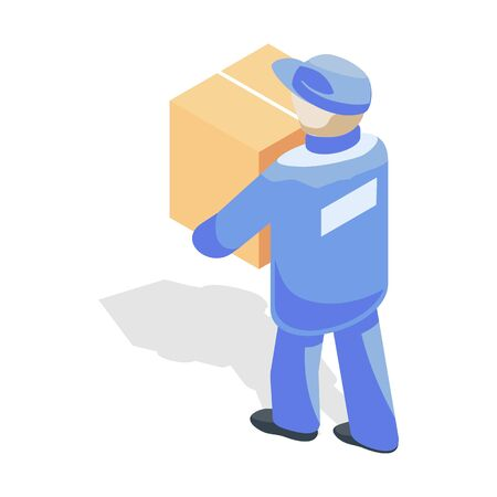 Loader or mover in blue uniform carrying cardboard box. Loading of goods, transportation, relocation concept. Transport or removal company services. Vector isometric illustration isolated on white.