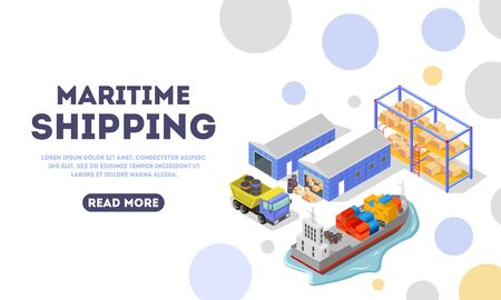 Maritime delivery landing page template. Shipping, logistic, distribution, export, transportation concept for web. Main stages of goods storage and carriage. Vector isometric. Place for text. Stock Vector - 133380228