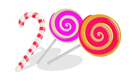 Two round swirl lollipops and white with red stripes candy cane. Sweets, goodies for kid s birthday, christmas celebration. Cartoon vector illustration isolated on white background. Ilustrace