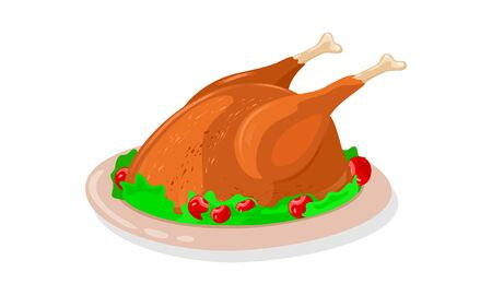 Crisp roasted whole chicken garnished by greenery and red cherries is on dish. Fried turkey or goose is on plate cooked for festive table. Cartoon vector illustration isolated on white background.