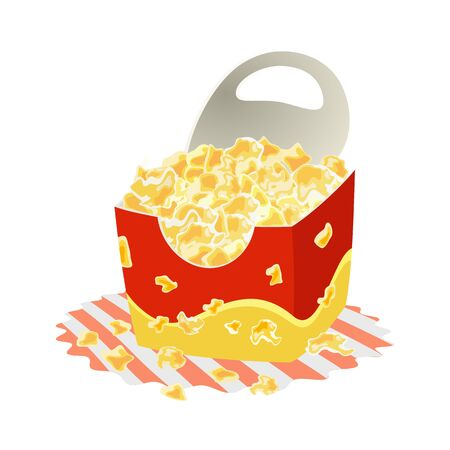 Sweet or salty popcorn in big paper cup on napkin. Maize corns which expanded and puffed up when heated. Delicious snack. Fast food. Cartoon vector illustration isolated on white background. Ilustrace