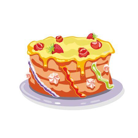 Ganze Torte, Torte, Kuchen, garniert mit gelber Buttercreme, Erdbeeren, Sahneblumen und anderen bunten Dekorationselementen. Karikaturvektorillustration lokalisiert auf Weiß. Vektorgrafik