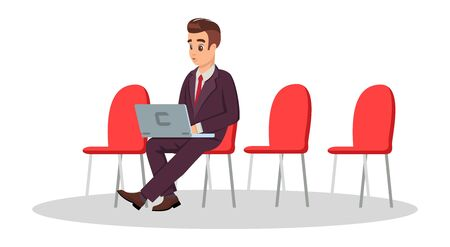 Young man in formal costume sitting on chair with laptop. Guy working in park, airport. Freelance, coworking concept. Businessman waiting for negotiation, job interview. Vector cartoon clipart. Ilustracja