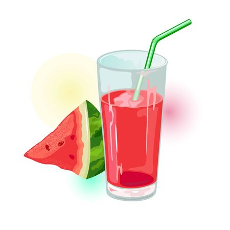 Wedge of ripe watermelon and glass of red juice with straw. Natural healthy product. Summer drink, beverage. Cartoon vector illustration isolated on white for menu, recipe, cookbook, packing. Ilustrace