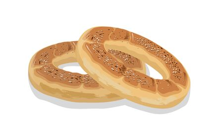 Two rings of wheat bagels, bubliks or cracknels. Baked goods, pastry, dessert food. Cartoon vector icon isolated on white for recipe of cookbook, menu, advertising, label of bakery, bakehouse, cakery.