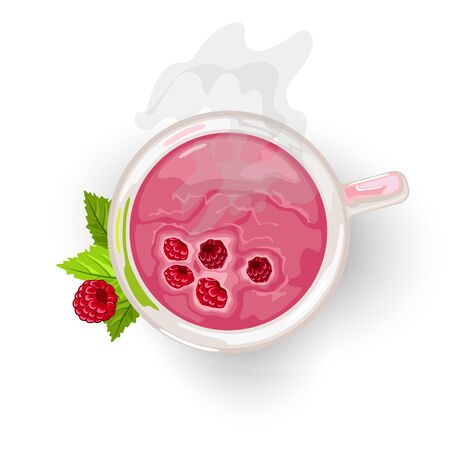 Curative healthy hot tea with raspberry in transparent cup garnished with green leaves. Tasty sweet berry beverage. Natural antioxidant. Top view. Vector cartoon illustration isolated on white.