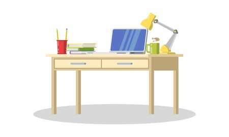 Modern desk with computer, lamp, folders, books, cup of tea or coffee, stationeries. Furniture item for interior of workplace at office or at home. Vector flat detailed icon isolated on white.
