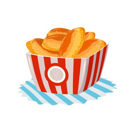 Fried hot pies with apple, strawberry, raspberry, peach, banana, cherry, custard filling in paper cup. Fast food in big striped disposable packing on napkin. Cartoon vector illustration on white.