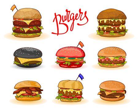 Diversi tipi di hamburger con scritte: hamburger, cheeseburger, big, double, red, black, chicken, bacon, bandierine decorate. Insieme del fumetto di vettore isolato. Può essere utilizzato per confezionare il menu delle ricette
