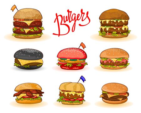 Different kinds of burgers with lettering: hamburger, cheeseburger, big, double, red, black, chicken, bacon, decorated little flags. Vector cartoon set isolated. Can be used for packing recipe menu