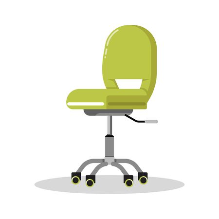 Office bright green chair with casters. Modern desk height adjustable armchair. Side view. Furniture item for workplace at company or at home. Vector flat icon isolated on white background. Illustration