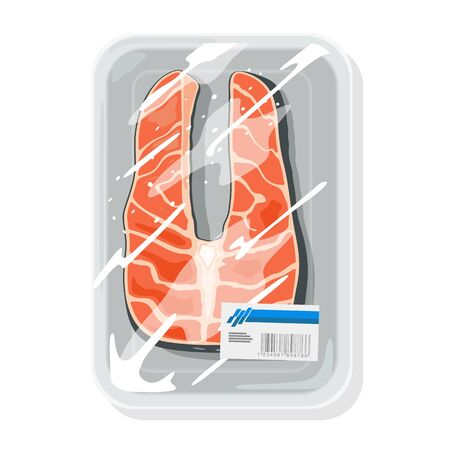 Cutted piece of atlantic salmon, coho silver, pink humpy, chum dog or chinook king is on plastic tray wrapped up cling film. Storage, keeping of salted, raw or smoked red fish. Vector mockup. Vectores