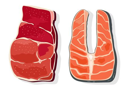 Beef and red fish steaks, fillet. Animal product for fitness people, bodybuilders, sportsmen, source of protein. Meat, seafood. Vector cartoon illustration isolated on white background.