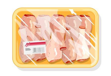 Poultry freeze in polyethylene packing for best storage, preservation and transportation meat. Chicken drumsticks, leg quarters wrapped kitchen film. Vector cartoon illustration isolated on white.