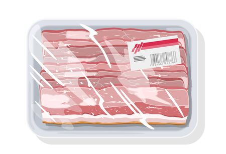 Smoked bacon, ham is on plastic tray covered stretch food wrapper, clingfilm with label. Vacuum-packages gammon, gigot, silverside. Meat snack. Vector cartoon mockup isolated on white background.