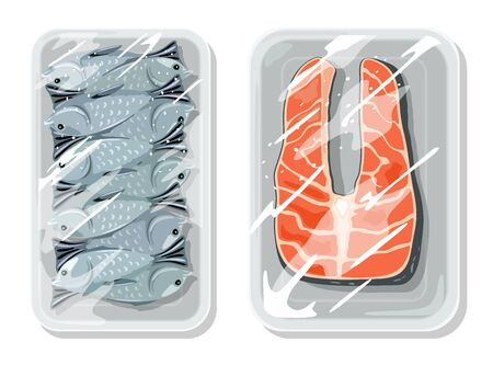 Vacuum packaging for best keeping food safe, storing, warehousing, transportation of ocean, river, sea fish. Seafood are on trays under   wrap. Vector cartoon mockups isolated on white background.