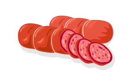 Red cervelat, ham, sausage, kielbasa, salami, mortadella, pepperoni cutted to slices for sandwiches, meat platter. Vector cartoon illustration of butchery or homemade product isolated on white. Ilustracja