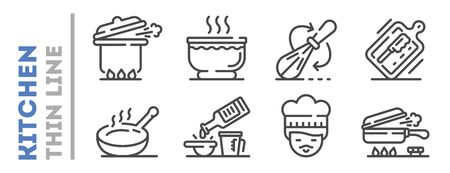 Set of boiling, frying, mixing, grilling thin line icons isolated on white. Kitchen staff, supplies outline pictograms collection. Food preparation highlights vector elements for infographic.