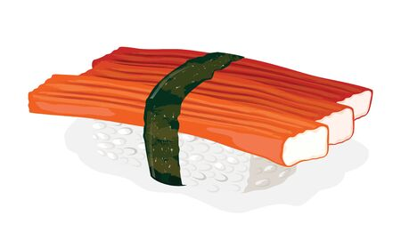 Kani sushi cooked from crab meat sticks, boiled rice and nori seaweed. Vector realistic illustration isolated on white background for menu of japanese take away bar or restaurant, recipes.