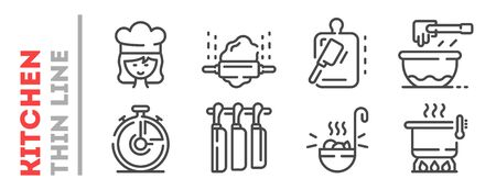Set of thin line icons related with cooking process isolated on white. Outline kitchenware, cook pictograms collection. Çizim