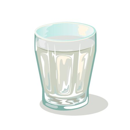 Short faceted glass cup with water. Drinking vessels. Small transparent tableware with chemical or medical liquid. Drinkware with coconut or birch sirup, nectar, juice, sap. Cartoon vector on white.