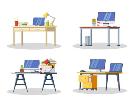 Set of modern desk with computer, lamp, folders, books, cup of tea or coffee, stationeries. Furniture item for interior of workplace at office or at home. Vector flat detailed icon isolated on white. Çizim