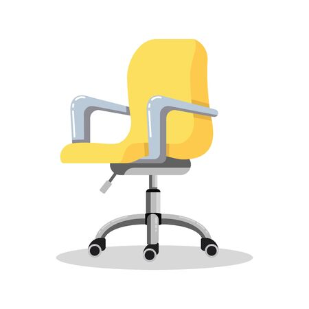 Office bright yellow chair with casters. Modern desk height adjustable armchair. Side view. Furniture item for workplace at company or at home. Vector flat icon isolated on white background.