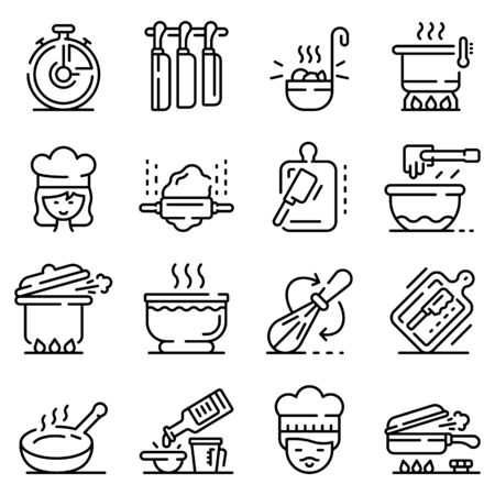 Big set of thin line icons related with chef, cook work, food isolated on white. Outline cookware pictograms collection, logotypes. Kitchen, canteen utensils vector elements for infographic, web.