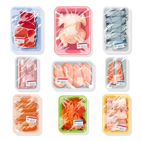 Big vector set with meat, poultry, seafood on plastic trays covered with polyethylene kitchen saran film. Vacuum packaging for storage, transportation of chicken, crawfish, beef steak, sausages. Stok Fotoğraf - 134747818