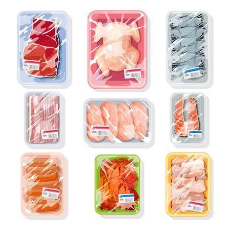 Grand vecteur serti de viande, volaille, fruits de mer sur des plateaux en plastique recouverts d'un film saran de cuisine en polyéthylène. Emballage sous vide pour stockage, transport de poulet, écrevisses, steak de bœuf, saucisses.
