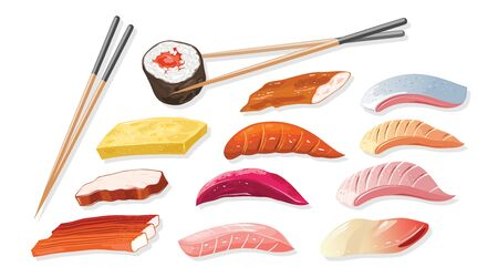 Big vector set with ingredient for cooking japanese sushi, sashimi, maki, norimaki different varieties of fish, crab meat, shellfish and chopsticks. Realistic illustration for menu, cookbook, recipe. Stok Fotoğraf - 134747825