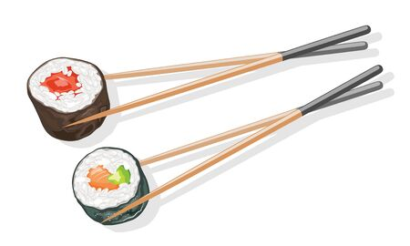 Two couples of wooden chopsticks holding tekkamaki and futomaki sushi rolls. Dinner, lunch in japanese restaurant, bar. Vector realistic illustration isolated on white background.