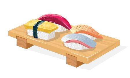 Wooden geta tray served with maguro, saba, tamago and hirame sushi. Seafood order in japanese restaurant. Snack. Vector realistic illustration isolated on white background for menu.