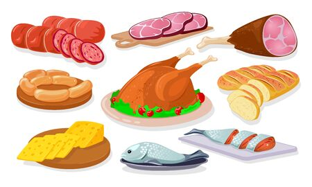 Grocery store, shop assortment sausage, kielbasa, ham, gammon, wieners, salmon, bread, poultry, cheese. Farm products. Animal source food protein meat fish Cartoon vector set on white Çizim