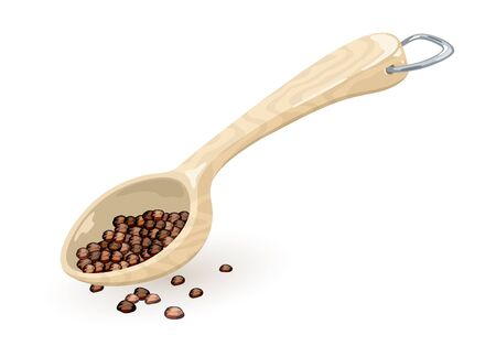 Black pepper corns or peppercorn are in measuring wooden or plastic spoon, scoop. Coffee beans spill out from ladle, bailer with metallic d-ring hung. Vector cartoon illustration isolated on white. Çizim