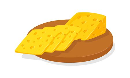 Slices of delicious swiss or dutch yellow porous cheese for toasts, sandwiches garnished with greenery. Appetizing breakfast, snack. Cartoon realistic vector illustration isolated on white background. Иллюстрация